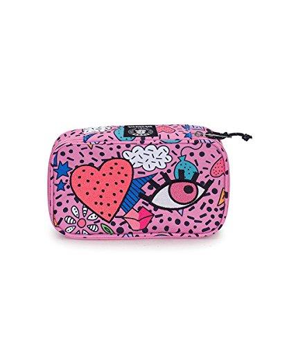 Portapenne invicta - quick case face - azalea pink rosa - astuccio porta penne attrezzato