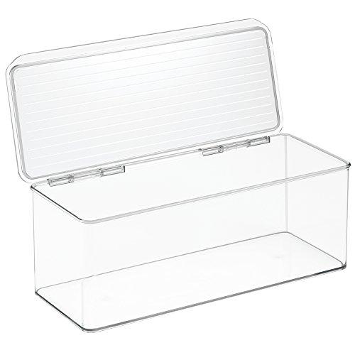 iDesign Cabinet/Kitchen Binz Aufbewahrungsbox, stapelbarer Küchen Organizer aus Kunststoff, Vorratsdose mit Deckel, durchsichtig - Kühlschrank Binz