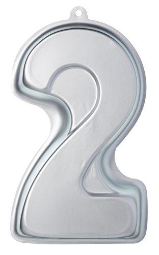KitchenCraft SDICPANTWO Kuchenform aus der Reihe Sweetly Does It, Motiv: die Zahl 2, aluminium, silber, 18 x 30 x 5 cm - Reihe Pan