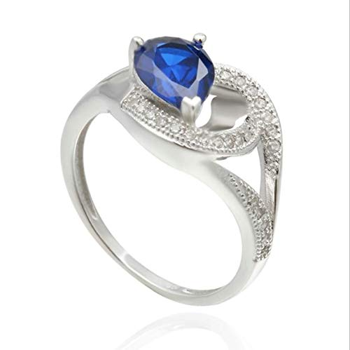 AnazoZ Schmuck Damen Ringe Versilbert Partnerringe Auf Rechnung Ehering 3 Klaue Träne Blau Zirkonia Damen Ringe Diamant Gold Weißgröße 49 (15.6)