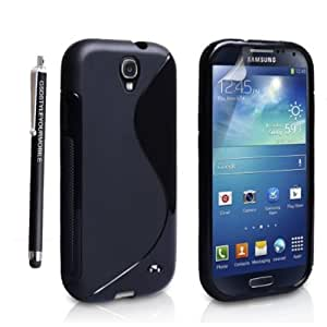 STYLEYOURMOBILE {TM} SAMSUNG GALAXY S4 I9500 I9503 I9505 I9506 PREMIUM QUALITY PRINTED SILICONE GEL PROTECTION CASE SKIN COVER + SCREEN PROTECTOR + STYLUS (Black)
