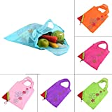Qewmsg Strawberry Foldable Shopping Bag Tote Reusable Eco Friendly Grocery Bag