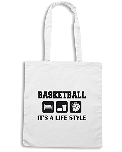 T-Shirtshock - Borsa Shopping OLDENG00242 sleep eat play basketball Bianco