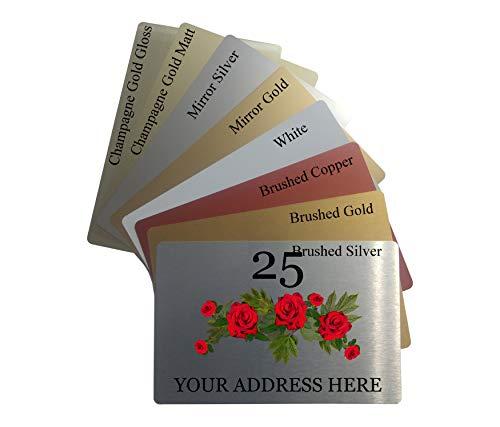 Personalisiertes Schild mit Rosen-Hausadresse, Metall, Aluminium, 23 x 15 cm, 8 Farben, multi, Sticky Pads, Tape Square