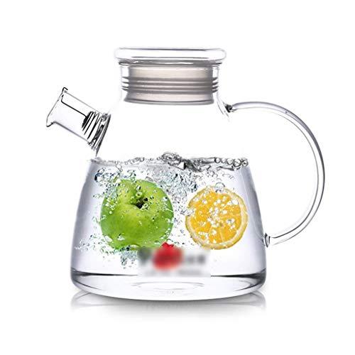 Brocca di vetro con coperchio, teiera di ghiaccio grande capacità e durevole è molto adatto per il tè di ghiaccio Vino caffè latte e bottiglie di bevande di succo Brocca grande - Teiera - Bollitore