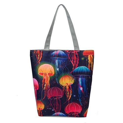 Felicove Damen Schultertasche, Nationale Wind Canvas Tote Casual Strandtaschen Frauen Einkaufstasche Handtaschen Täglichen Gebrauch Einkaufstasche