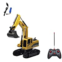 CUHAWUDBA 5 Channels Gift Children RC Excavator Toys USB Rechargeable Simulation Truck Crawler Tractor Wear Resistant Electronic