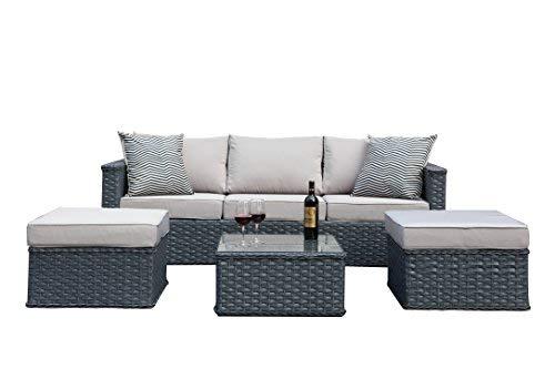 Büloo Polyrattan Gartenmöbel 5-Sitzer-Rattan Outdoor Sitzgruppe Lounge Set Gartenganitur, 4tlg. Grau, Aluminiumgestell, fertig montiert