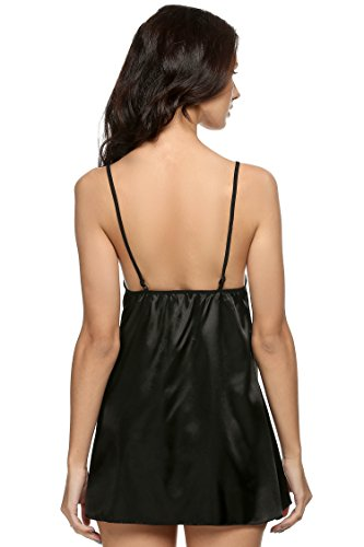 Avidlove Damen Sexy Transparant Nachtkleid V-Ausschnitt Ärmellose Negligee mit Verstellbaren Träger A Schwarz