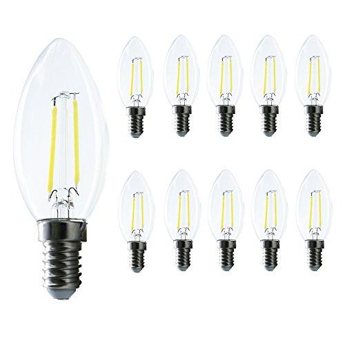 Preisvergleich Produktbild LED E14 Edison Lampe ersetzt 20 Watt,  E14 C35 Led Lampe 2W Filament Gluehfaden LED Birne Lampe Kerzen-Form 150 Lumen 360° Abstrahlwinkel 10er Pack (Kaltweiß)