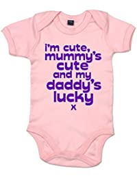 IiE, I'm cute,mummy's cute and my Daddy's lucky x, Baby Boy, Bodysuit