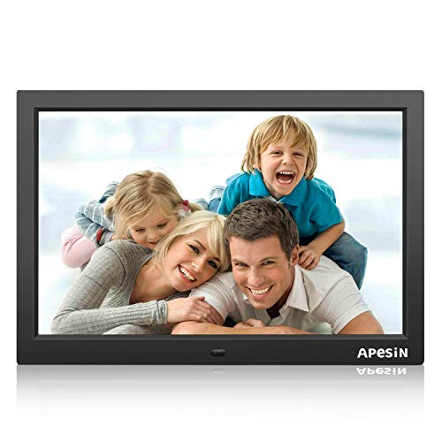 APESIN Digitaler Bilderrahmen 15.4 Zoll Widescreen 1440x900 Hohe Auflösung FullHD LCD Farbdisplay, Musik/Video Player/Kalender / Alarm, mit Fernbedienung (Schwarz)