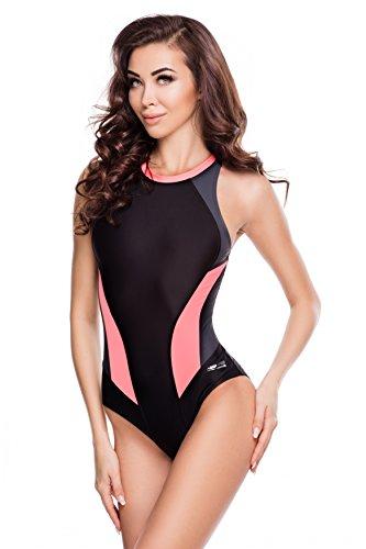 Aqua Speed® NINA Badeanzug | Damen | Einteiler | 36-44 | Leicht | Elastisch | Dehnbar | UV-Schutz | Chlorbeständig, Größe:44, Farbe:Farbe 133 Black/Grey/Coral