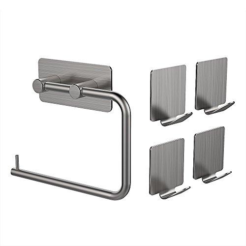 Toilettenpapierhalter Ohne Bohren MAPUX Küchenrollenhalter Papierrollenhalter Stehend WC Rollenhalter mit 4 Stück Haken aus Matt Gebürstetem Edelstahl