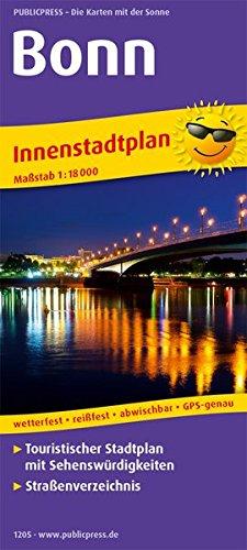 Bonn: Touristischer Innenstadtplan mit Sehenswürdigkeiten und Straßenverzeichnis. 1 : 18 000 (Stadtplan / SP)