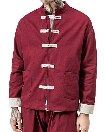 Penggenga camicia uomo cotone cinese tradizionale in lino e tai chi kung fu con collo a rana bodeaux 2xl