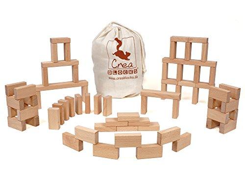 CreaBLOCKS Holzbausteine Kleines Grundpaket (66 unbehandelte Bauklötze) (im Baumwollbeutel)