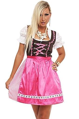 4211 Fashion4Young Damen Dirndl 3 tlg.Trachtenkleid Kleid Bluse Schürze Oktoberfest 4 Farben 4 Größen, Rose,
