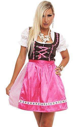 4211 Fashion4Young Damen Dirndl 3 tlg.Trachtenkleid Kleid Bluse Schürze Oktoberfest 4 Farben 4 Größen, Rose, 40