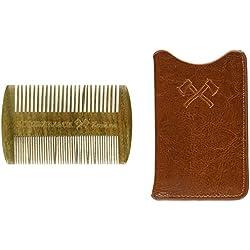 Barba peine doble lados, regalo para hombres–Un peine de madera de la barba y funda de piel, bolsillo, sándalo, difíciles y grosor dientes, madera anti-estática peine bien para usar junto con bartöl & Bálsamo