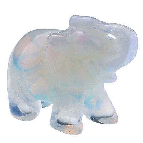 QGEM Dekoration Healing geschnitzte Elefanten Tier Figur Statue Ornament Edelstein Kristall Reiki Energietherapie yoga mit Geschenk-Box 38mm/Opalite