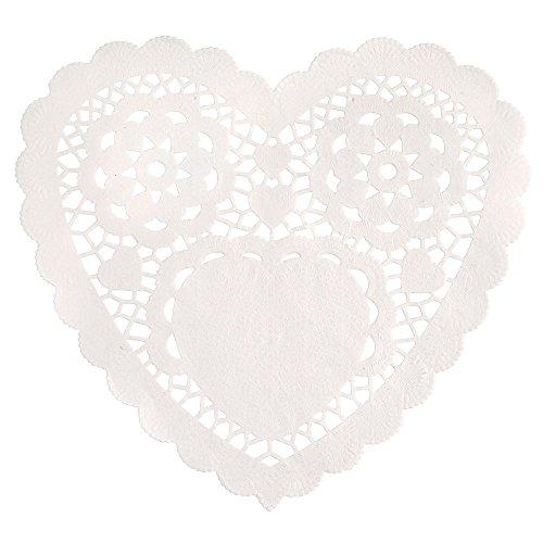 15cm weiß Herz Tortenspitzen aus Papier, 30Stück (Herz-deckchen)