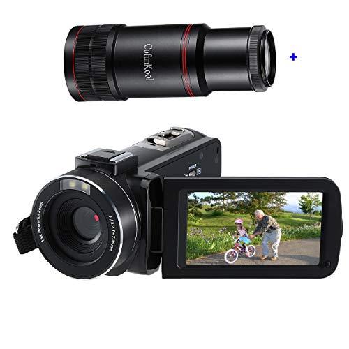 VideoKamera Full HD Camcorder Cofunkool 1080P 24MP 3.0 IPS LCD Touchscreen IR-Nachtsicht Digital Camcorder Fernbedienung mit Fernrohr