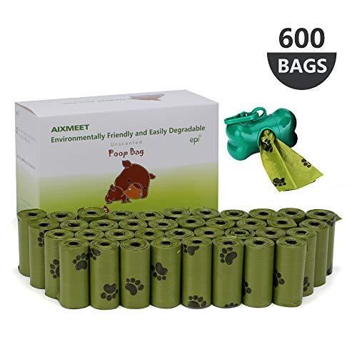 AIXMEET Sacchetti di Cacca di Cane(600 Sacchetti), Sacchetti biodegradabili per Escrementi del Cane, pets Sacchetti per Escrementi del Cane 32x22cm + 1 dispenser