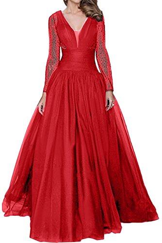 Toscane mariée magie épaules dégagées chiffon pointe longue ballkleider abendkleider demoiselle d'honneur soirée Rouge - Rouge