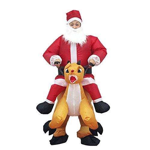 Aufblasbare Weihnachtsmann Anzug - Leobtain Aufblasbares Weihnachtsmann-Kostüm, Weihnachtsanzug-Kleid Aufblasbarer Weihnachtsmann-Overall,