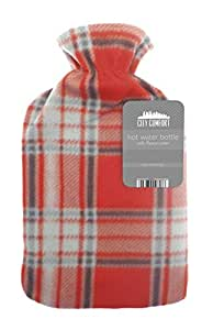 Hot Water Bottle 2 Litre With Fleece Cover, Red Check