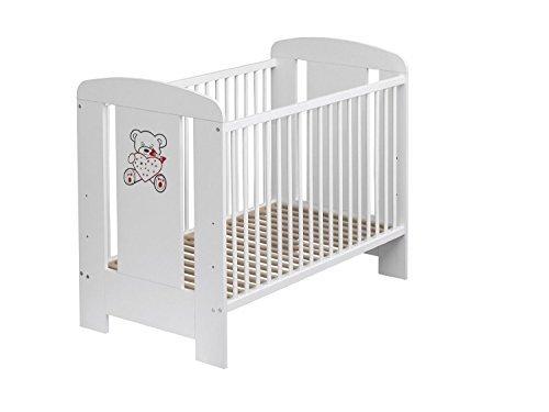 Best For Kids Gitterbett in 3 Farben mit neuer 10 cm Matratze aus Schaumstoff TÜV Zertifiziert Geprüft, Kinderbett Babybett braun 4 Teile (Weiß)