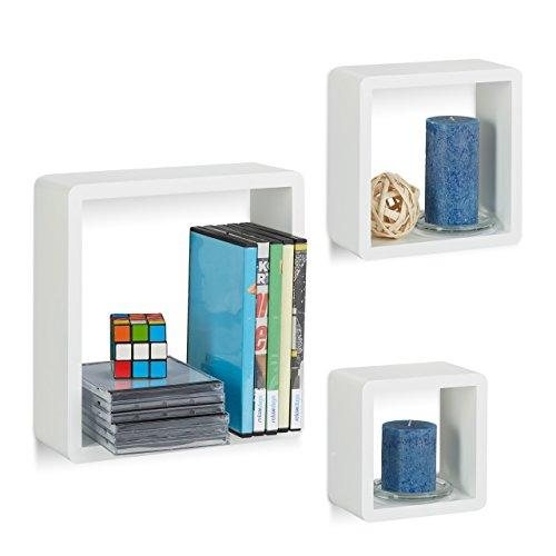 Relaxdays Wandregal Cube 3er Set, Quadratische MDF Wandboards, Belastbare  Schweberegale Für Das Wohnzimmer,