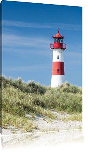 Leuchtturm hinter Dünen , Format: 40x60 auf hochkantiges Leinwand, XXL riesige Bilder fertig gerahmt mit Keilrahmen, Kunstdruck auf Wandbild mit Rahmen, günstiger als Gemälde oder Ölbild, kein Poster oder Plakat