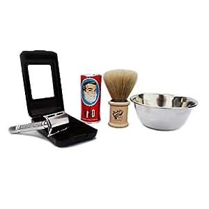 Baili ® Shaving Set Silver Double Edge Safety Razor - Shaving Kit Natural Shaving Brush Arko Shaving Soap Shaving Bowl 5 Baili Spares gift for men fathers day double edge razor kit