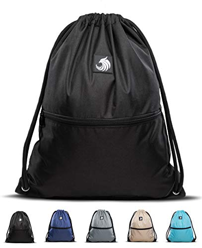 Fitgriff® Turnbeutel für Damen und Herren, Sportbeutel, Gymsack, Rucksackbeutel, Gym Bag Drawstring Backbag Bag (Black)