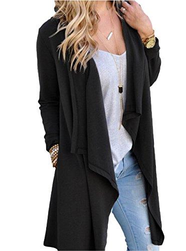 SWISSWELL Damen Strickjacke Cardigan Pullover Blazer Jacke Mantel Tops Casual Outwear Irregulär Cardigan Asymmetrisch Langarm Loose mit Taschen Schwarz XL