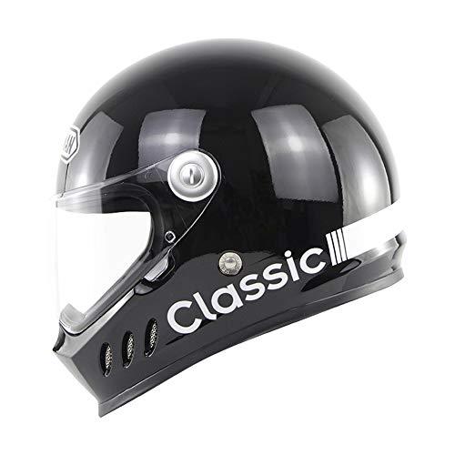 TANMIN Moto Casco da Motociclista, Casco Integrale Retro Fashion Moto Scooter Moto · ECE/DOT Certificato con Staccabile Obiettivo Lavabile Liner,Brightblack,XL
