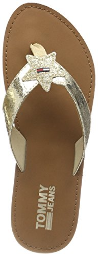Hilfiger Denim Damen Glitter Beach Sandal Zehentrenner, Gold (Light Gold 708), 36 EU (Leder Sandale Denim)