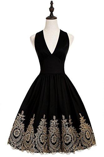 Babyonline® Damen Neckholder Ärmellos Knielang Vintage 1950er Jahre  Rockabilly Pinup Faltenrock Abendkleider Cocktailkleider Petticoat Schwarz