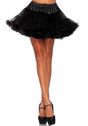 UTOVME Damen Rock 4 Layer Petticoat Unterrock Tüll Tutu Röcke Ballett Puff Rock für Tanz Party Bühnen Kostüm Show COSPLAY, Schwarz