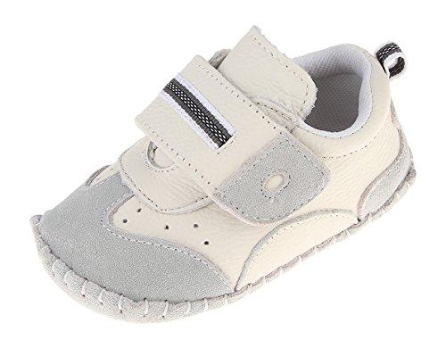 Cloud Kids Babyschuhe Jungen Lauflernschuhe Krabbelschuhe Weiche Sohle Lederschuhe für Baby 0-36 Monate 18-24 Monate Grau