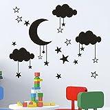 ❤️Pegatinas de pared❤️Dragon868 Bricolaje nube Luna calcomanías de pared de la estrella para habitación infantil bebé (negro)