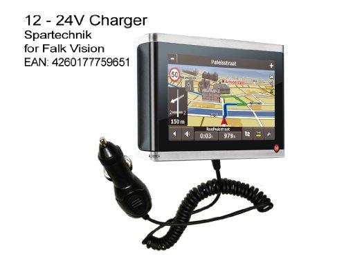 Autolader Falk Vision: 12V KfZ Ladekabel für Falk GPS Navigation Vision 500 600 700 F10 S400 S450 R300 R350 IBEX 30 Deutschland Österreich Schweiz - 90° abgewinkelter Spezialstecker, 12V - 24 Volt 700 Gps-navigation
