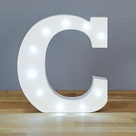 Holz LED Nachtlicht Buchstabe mit Beleuchtung Dekoration für Kinder-Schlafzimmer Wand Dekoration von Hochzeit Party Pack 1-Buchstabe C