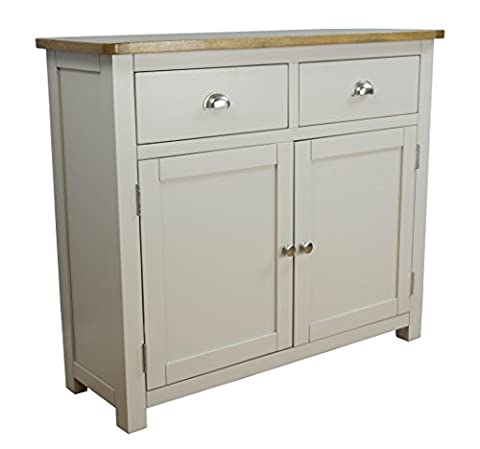 Wellington Painted Oak Grey Small Sideboard / 2 Door 2 Drawer Dresser Base - With Solid Oak Top