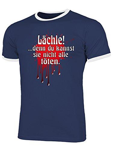 Lächle Denn Du Kannst Nicht Alle Töten. 1623 Herren Ringer T-Shirt (HR=Navy/Weiss) Gr. L