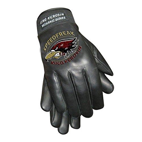 King Kerosin Speedfreak Handschuhe Lederhandschuhe (M, Schwarz)