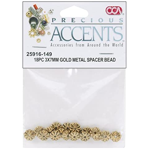 Precious Accents Gold Plated Metal Beads & Findings-3x7mm Spacer Bead 18/Pkg