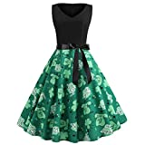 IZHH St. Patrick's Day Damen Kleider Frauen Klee Kleeblatt Mit Herz V-Ausschnitt Mode äRmellose Abenddruck GrüN Klee Print Party Prom Club Schwingen Dress GrüNes Klee-Retro Kleid(Grün-5,Large)